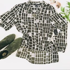 Alfani Tops - Green block Grids High-Low Long sleeves Blouse C83